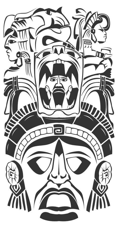 стародедовская ацтекская маска церемонии майяская иллюстрация вектора