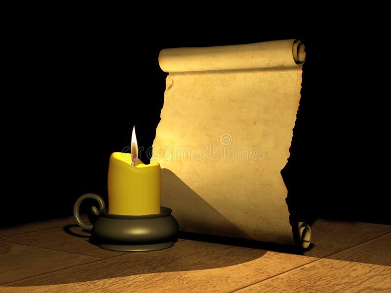стародедовская горящая рукопись свечки иллюстрация вектора