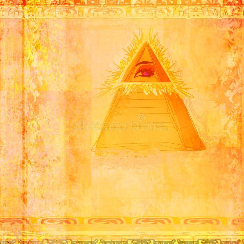 Стародедовская конструкция глаза пирамидки иллюстрация вектора