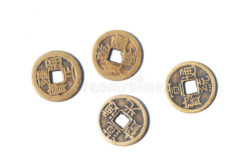 стародедовские китайские монетки омедняют 4 стоковая фотография rf