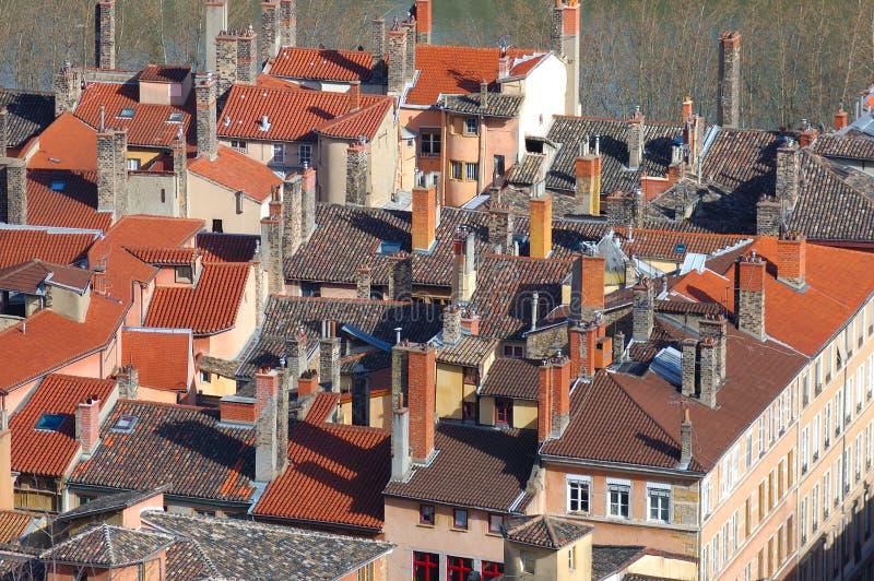 стародедовские крыши Франции lyon lyons города стоковое изображение