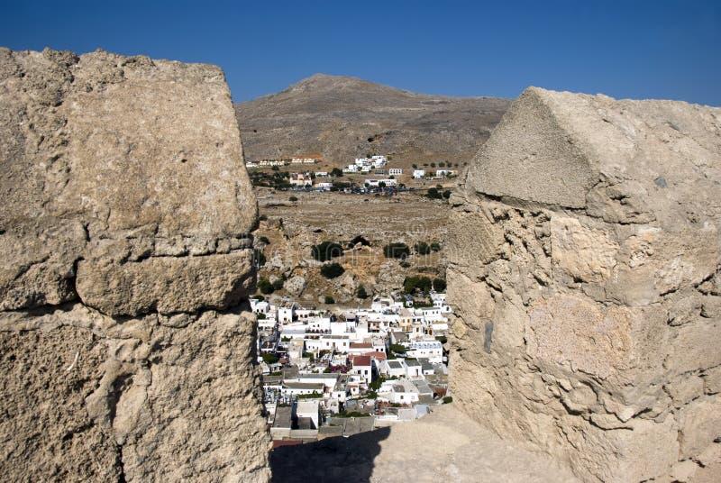 стародедовский висок lindos Греции там стоковое фото rf