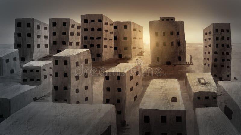 Стародедовский город - картина цифров стоковое изображение rf