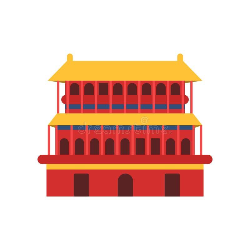 стародедовский киец зодчества Значок виска пагоды Символ культуры Китая Буддийский дом в красном цвете с желтым цветом иллюстрация вектора