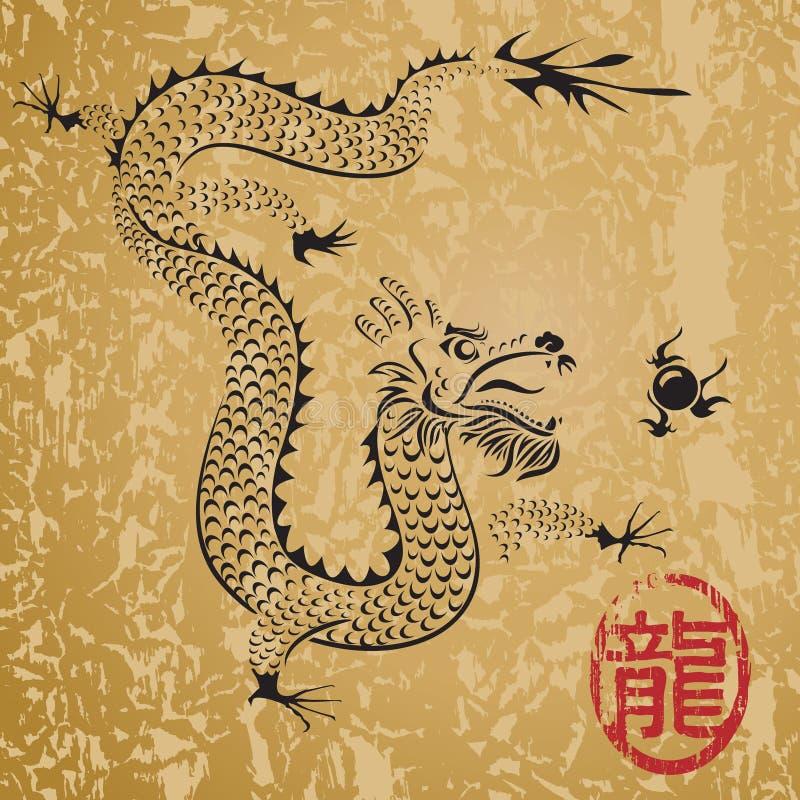 стародедовский китайский дракон иллюстрация штока
