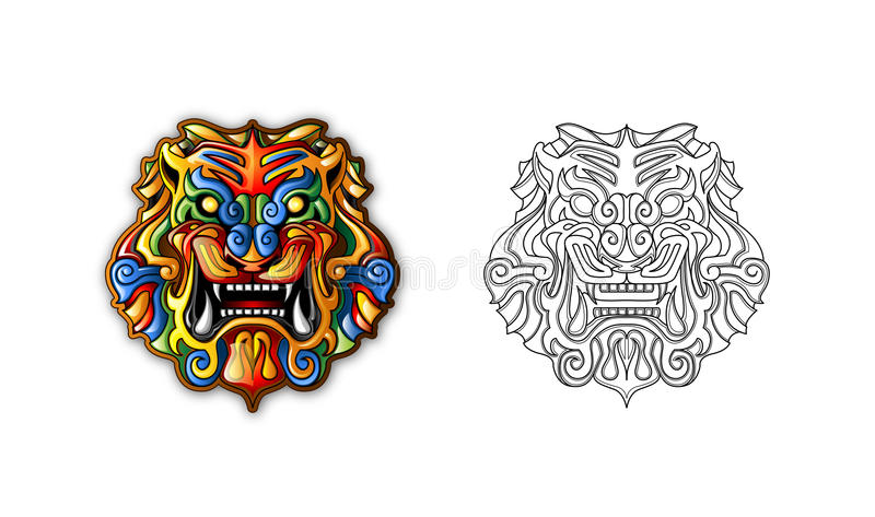 стародедовский китайский тигр типа маски иллюстрация вектора