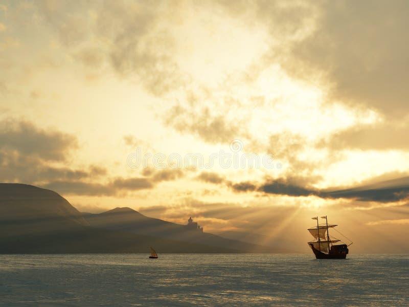 стародедовский сосуд захода солнца стоковое фото rf