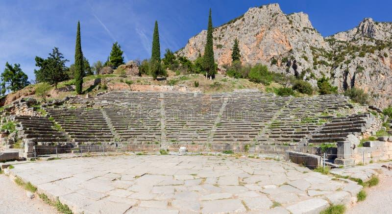Стародедовский театр Делфи, Греции стоковая фотография rf