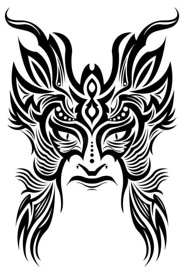 стародедовский tattoo маски церемонии соплеменный иллюстрация вектора