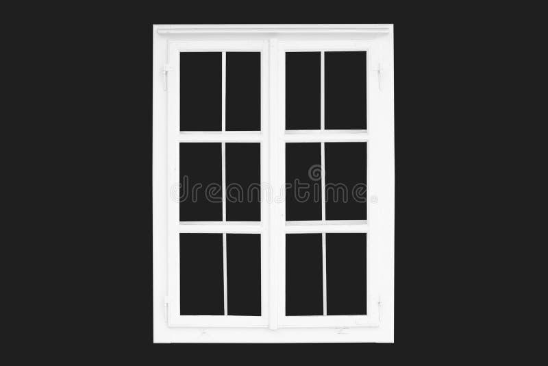 Старое белое традиционное окно изолированное на черноте напольно иллюстрация штока