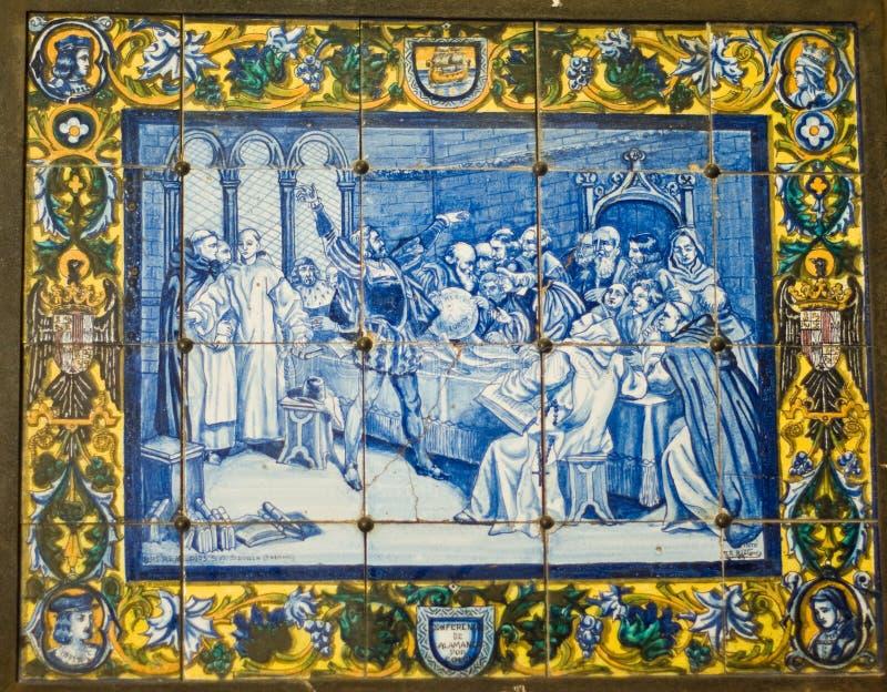 Старое винтажное artowork керамических плиток в Португалии стоковые изображения