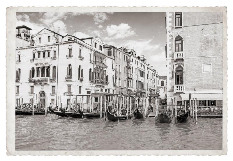Старое винтажное Monochrome фото в Венеции стоковые изображения
