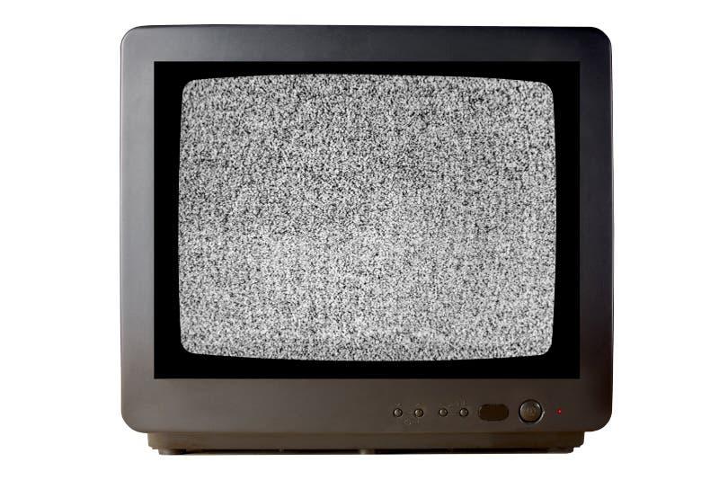 Старое винтажное televisor телевизора изолированное на белой предпосылке без влияния шума телевидения сигнала зернистого на экран стоковые изображения rf