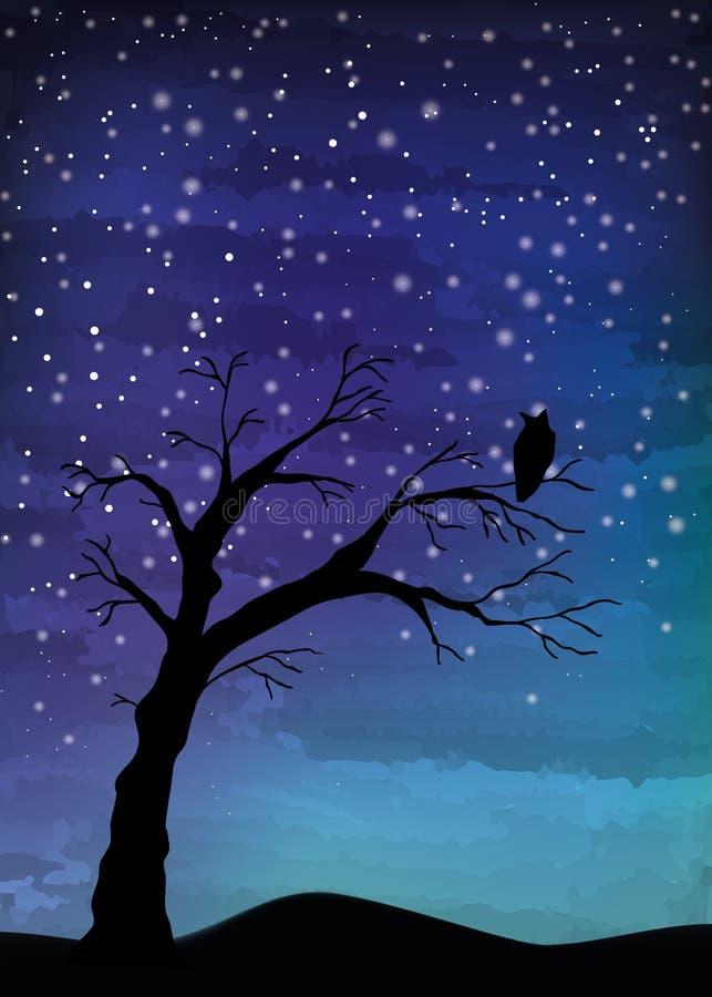 Старое дерево и птица на ночном небе иллюстрация вектора