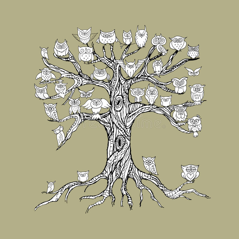 Старое дерево с сычами для вашего дизайна иллюстрация штока