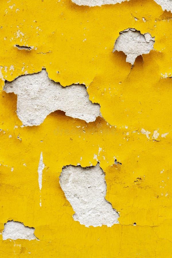 Старое желтое покрытие внешней стены шелушась, предпосылка текстуры стоковые фотографии rf