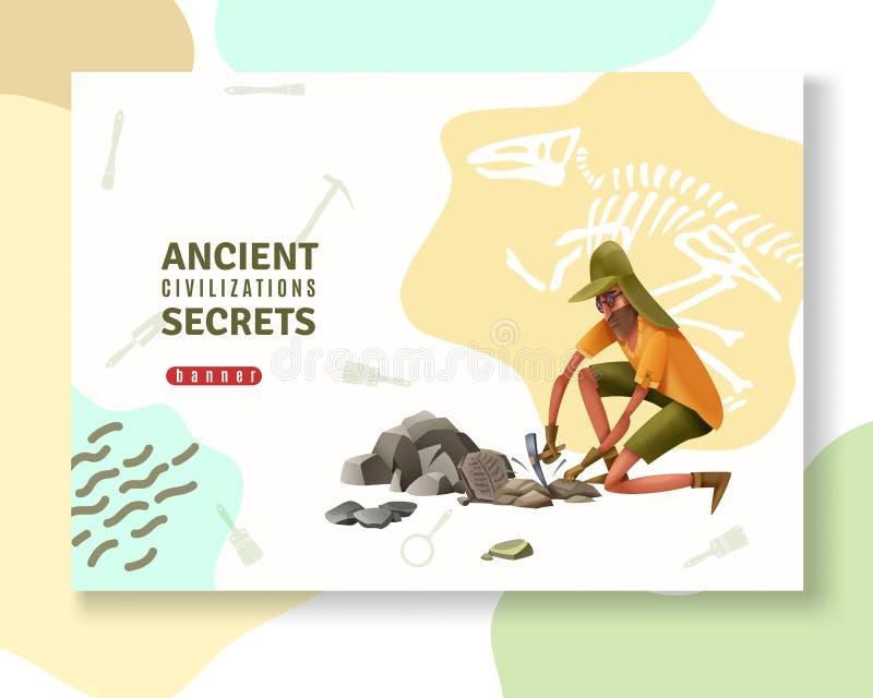 Старое знамя археологии секретов бесплатная иллюстрация