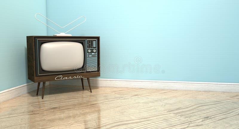 Старое классическое телевидение в комнате иллюстрация вектора
