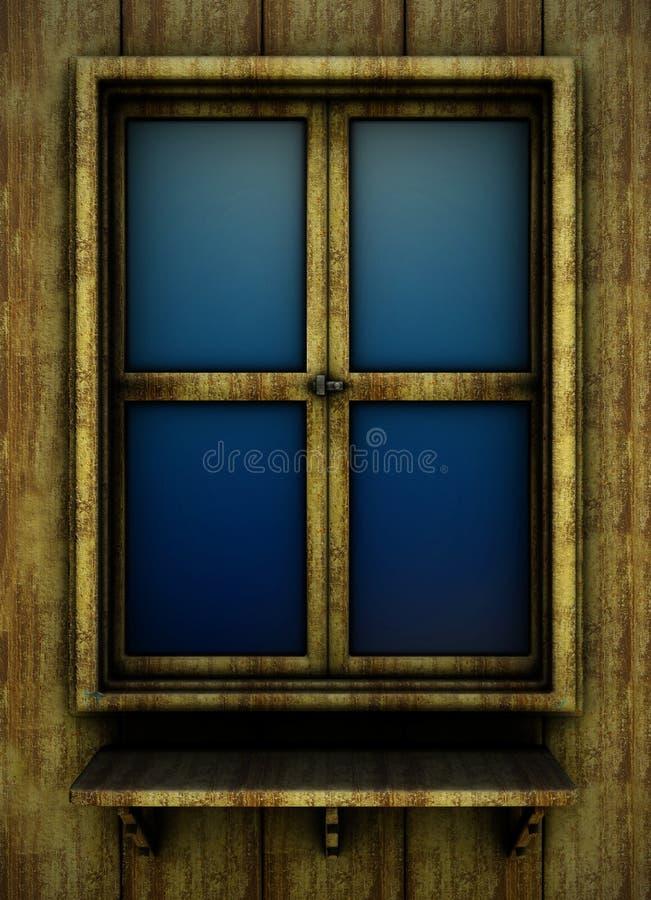 старое окно деревянное иллюстрация вектора