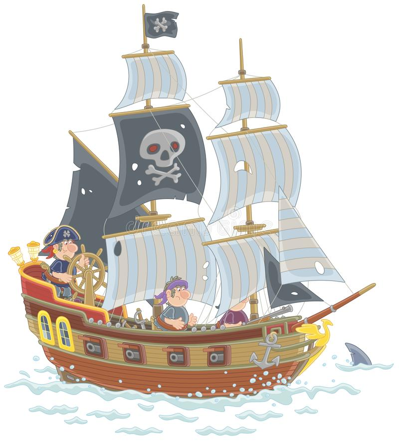 Старое парусное судно пирата с флагом Веселого Роджера иллюстрация штока