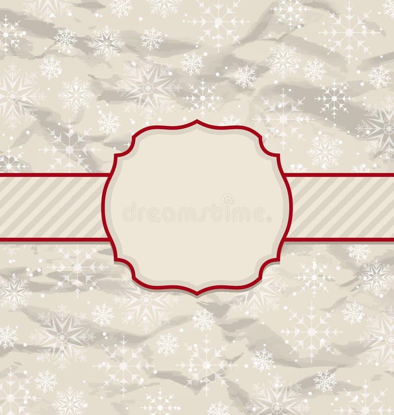 Старое приглашение год сбора винограда с снежинками иллюстрация вектора