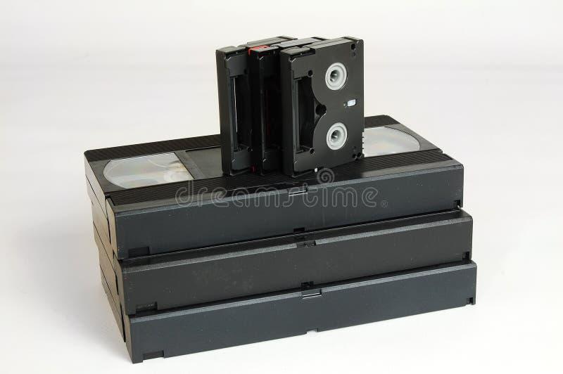 Старое сетноое-аналогов dv vhs лент видео- кассеты стоковые фотографии rf
