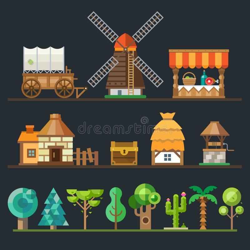 Старое село Различные объекты, спрайты иллюстрация вектора