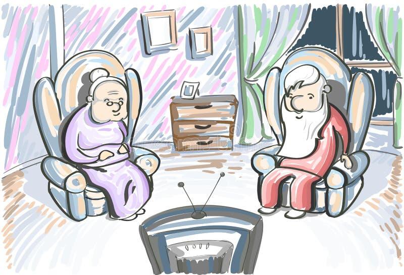 Старое ТВ вахты женщины человека пар сидит в кресле иллюстрация штока