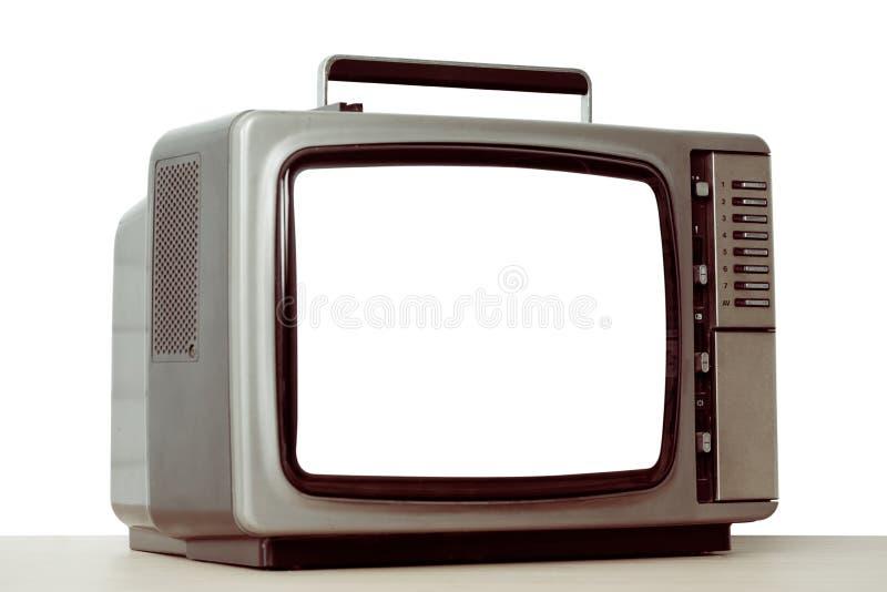 Старое телевидение при отрезка экран вне изолированный на белизне стоковое фото rf