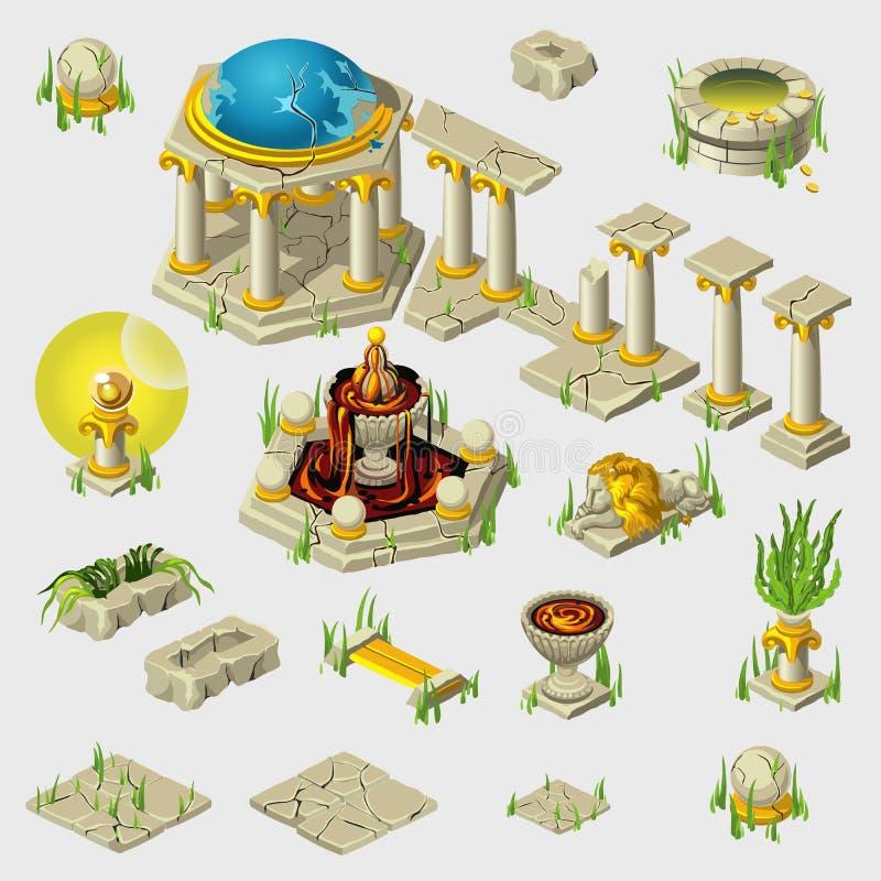 Старое украшение, здания, плитки, скульптуры иллюстрация вектора