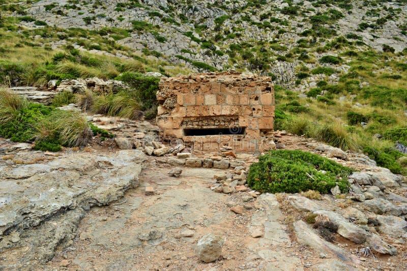 Старое укрепленное городище бункера на холме стоковые изображения rf