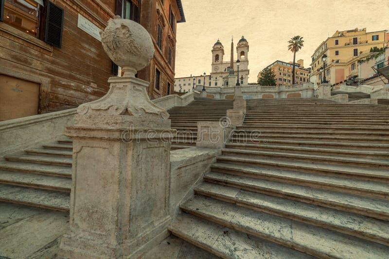 Старое фото с испанскими шагами от Аркады di Spagna в Риме, Ital стоковое изображение rf