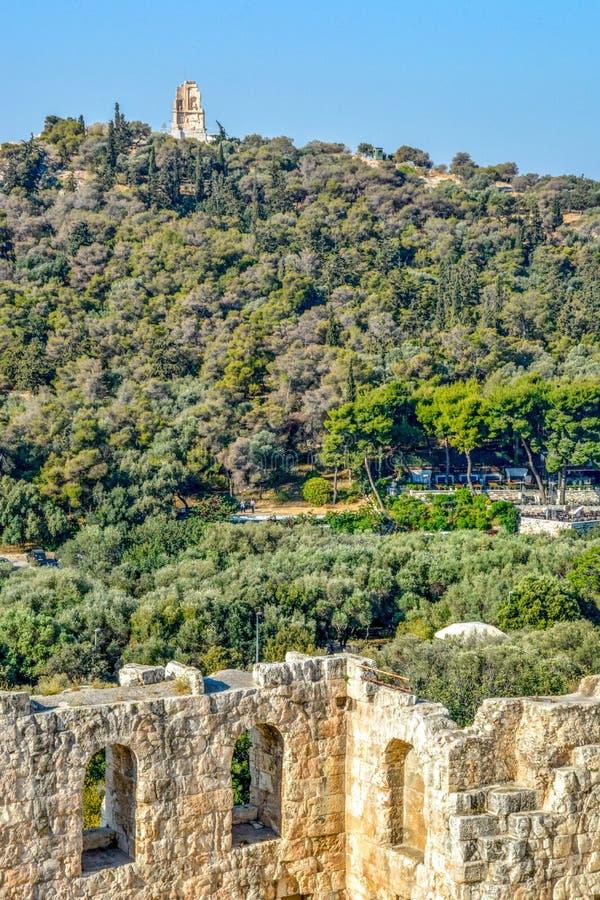 Старое Odeon Аттика Herodes в Афинах, Греции стоковые фотографии rf