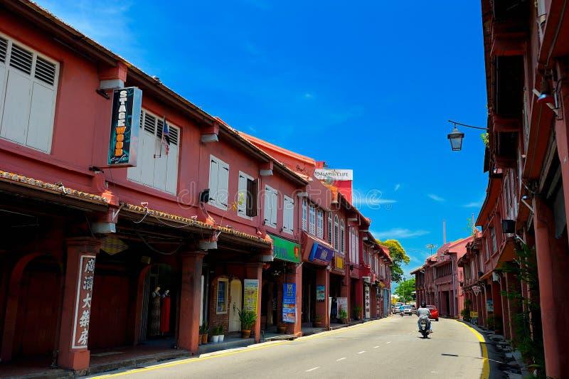 Старое Shophouses на Jalan Laksamana, Малакке стоковое изображение rf