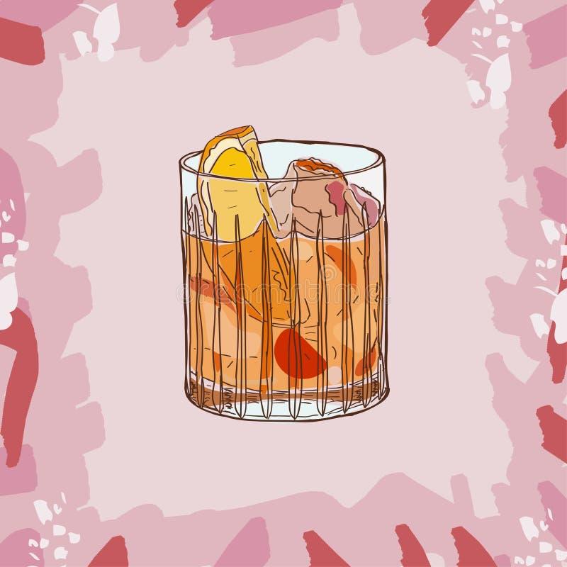 Старомодная иллюстрация коктейля Вектор спиртной руки напитка бара вычерченный Искусство шипучки иллюстрация вектора