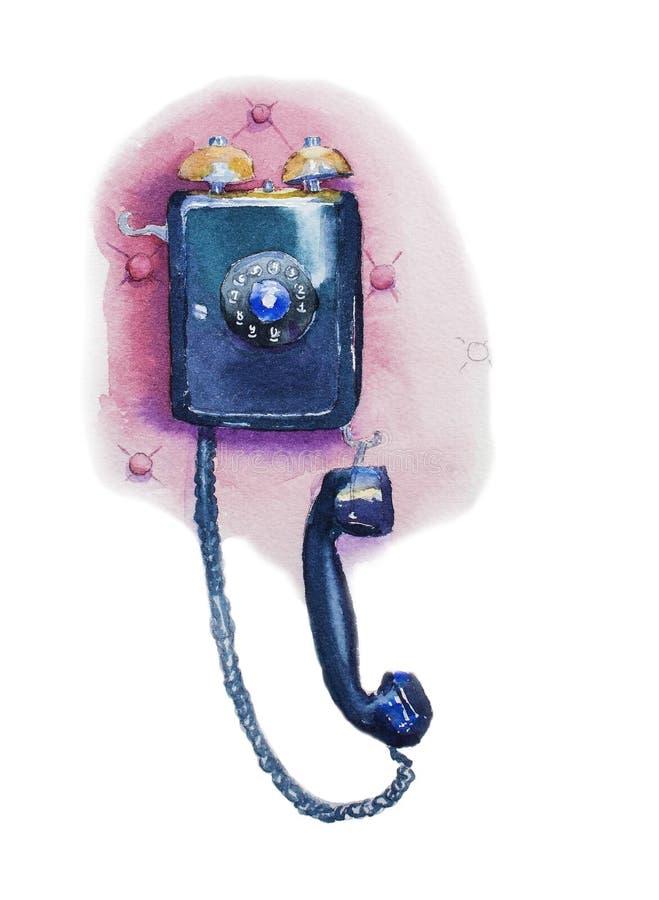 Старомодный телефон стены иллюстрация штока