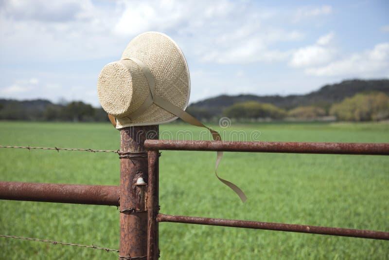 Старомодный bonnet соломы на столбе загородки в стране холма Техаса стоковое изображение rf
