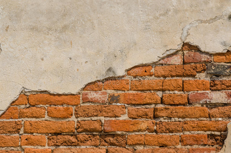 Старость бетонной стены и красного кирпича стоковая фотография rf