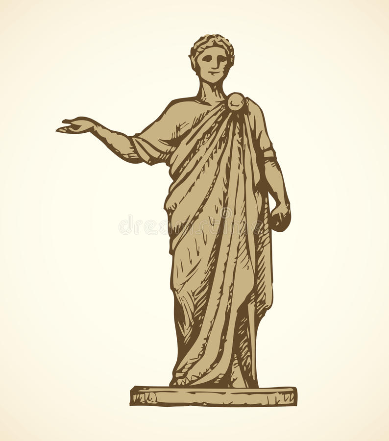 стародедовская римская статуя предпосылка рисуя флористический вектор травы бесплатная иллюстрация