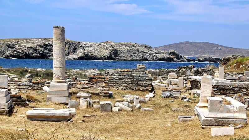 стародедовские руины Греции delos стоковые изображения