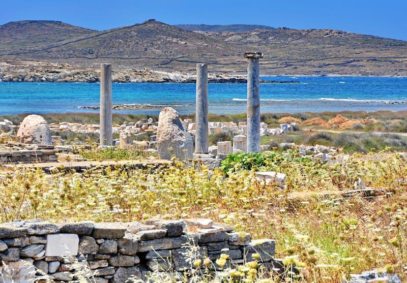 стародедовские руины Греции delos стоковые фотографии rf