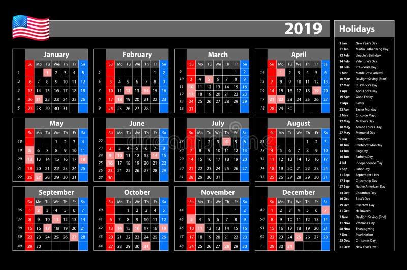 Старты понедельник календаря черного вектора простые 2019 до одного года с одного взгляда - с праздничными днями для США иллюстрация вектора