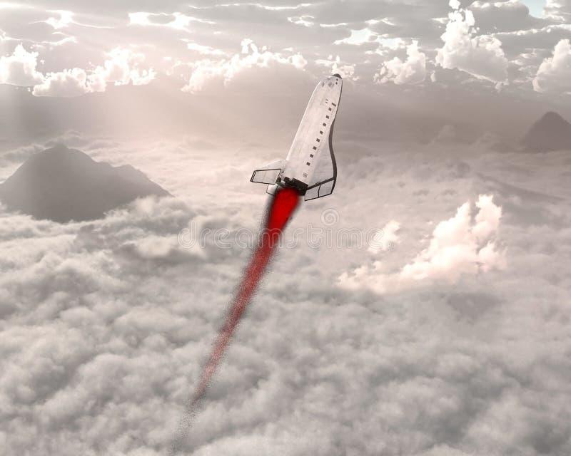 Старт космического летательного аппарата многоразового использования, облака, небо