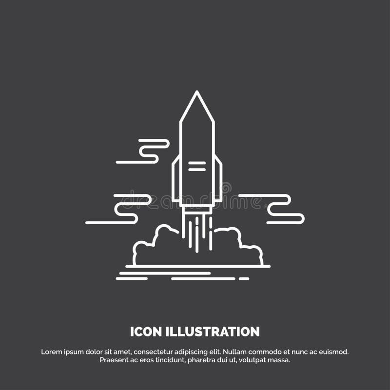 старт, опубликовывает, приложение, челнок, значок космоса r иллюстрация вектора
