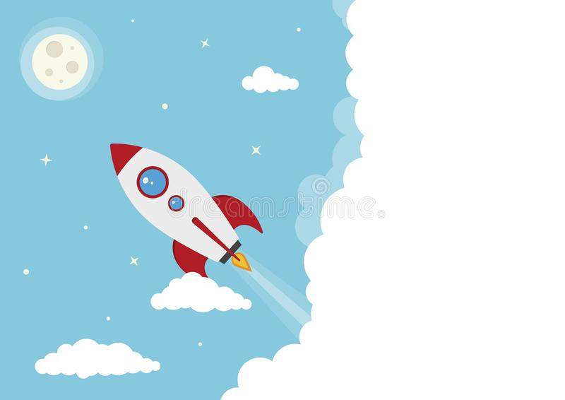 Старт Ракеты космоса вектора шаржа иллюстрация штока