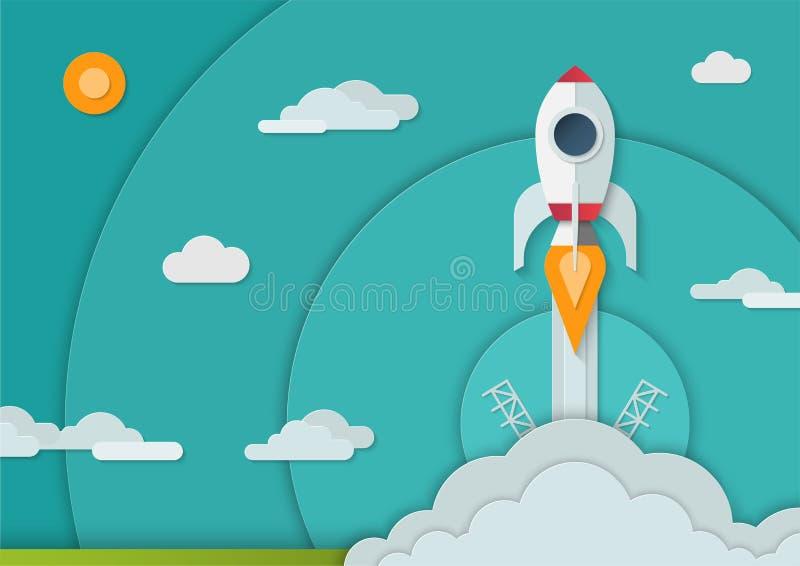 Старт ракеты космоса в бумажном стиле искусства Размер A4 иллюстрация штока