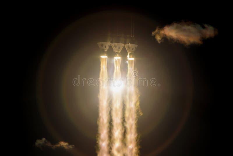 Старт ракеты на ноче стоковая фотография