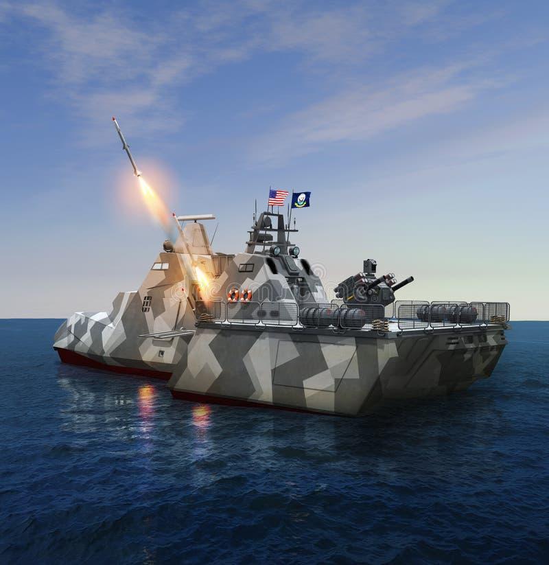 Старт Ракеты от американского высокотехнологичного корабля войск иллюстрация вектора
