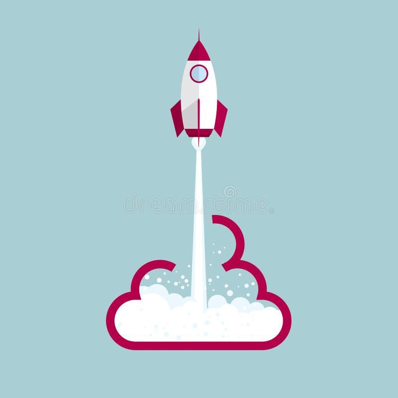 Старт Ракеты от символа облака иллюстрация вектора