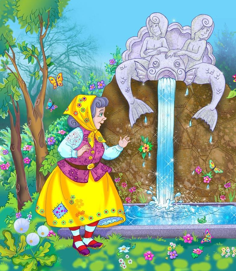 старуха волшебства фонтана иллюстрация вектора